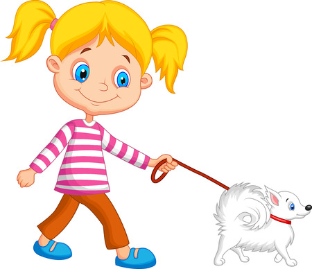 Cute cartoon girl walking with dog  Vector