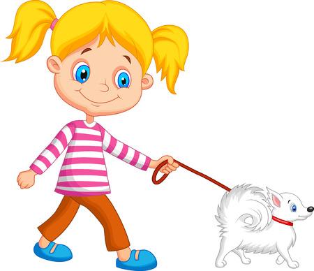 dog walking: Cute cartoon girl walking with dog