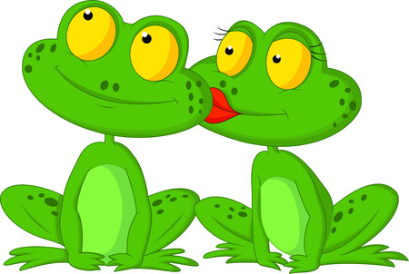 kissing lips: Frog cartoon kissing