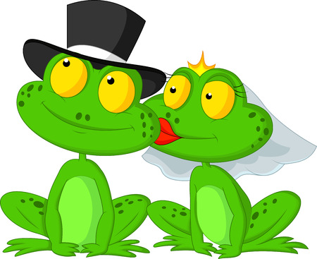 Married frog cartoon kissing  Çizim