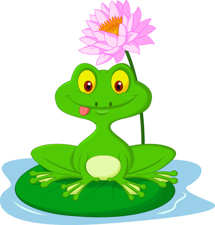 Green frog cartoon sitting on a leaf  Vector