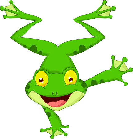 tiny frog: Funny frog cartoon standing on its hand  Illustration