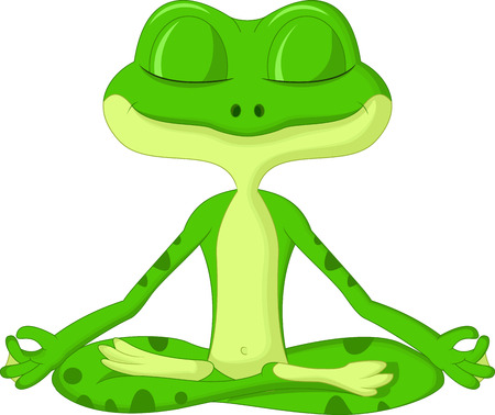 Frog cartoon doing yoga Фото со стока - 23007399