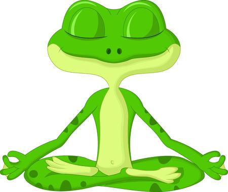 sorridente: Sapo dos desenhos animados fazendo yoga