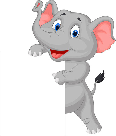 Funny elephant cartoon and blank sign  Vector
