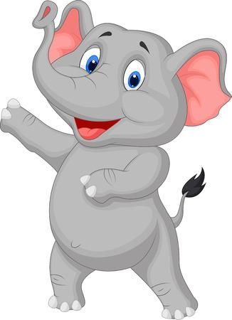Cute elephant cartoon presenting  Çizim