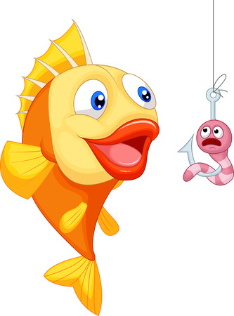 nature picture: Cartoon Scared worm with hungry fish  Illustration