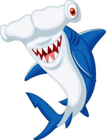 shark fin: Cute hammerhead shark cartoon