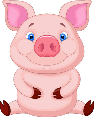 young pig: Cute baby pig cartoon sitting  Illustration