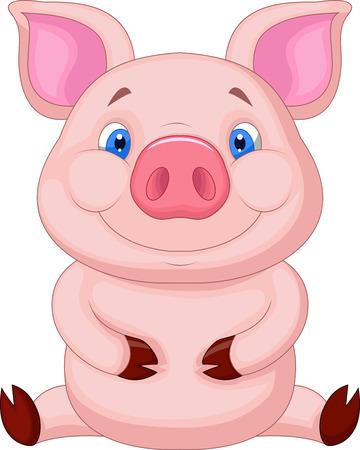 Leuke baby varken cartoon zitten