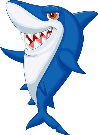 Carino squalo cartone animato Vettoriali