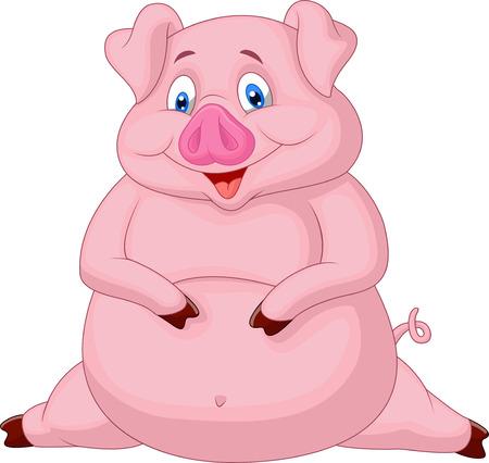 adultos: Dibujos animados Fat pig Vectores