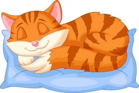 Gato de la historieta linda que duerme en una almohada