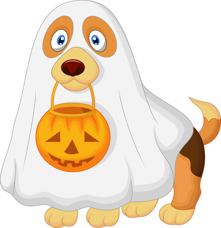 Cartoon Dog dressed up as a spooky ghost  Vector