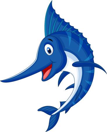 pez espada: Marlin historieta de los pescados Vectores