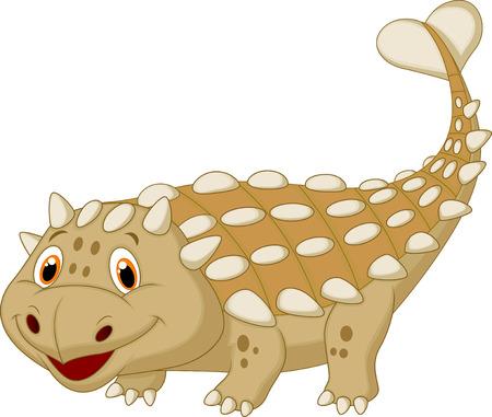 herbivorous animals: Cute dinosaur ankylosaurus cartoon  Illustration
