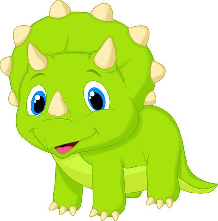 dinosaurio caricatura: Lindo bebé triceratops de dibujos animados