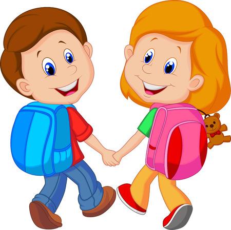 cartoon jongen: Cartoon jongen en meisje met rugzakken Stock Illustratie