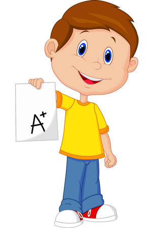 examinations: Boy cartoon showing A plus grade
