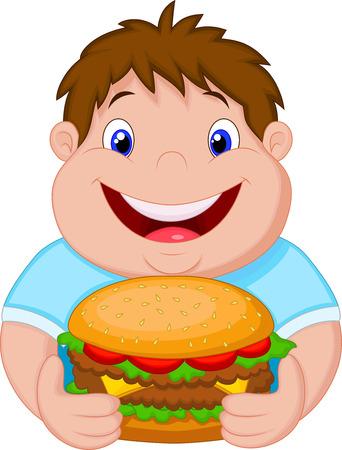 Fat boy cartoon glimlachend en klaar om een grote hamburger eet