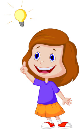 Cartoon Little girl with big idea  Vector