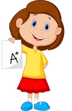 grade: Girl cartoon showing A plus grade