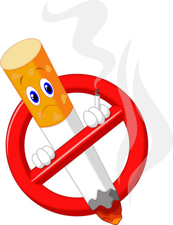 smoldering cigarette: No smoking cartoon symbol