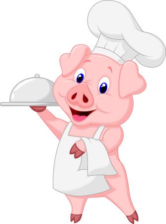 Cute pig chef cartoon holding platter  Çizim