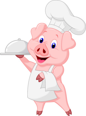 apron: Cute pig chef cartoon holding platter  Illustration