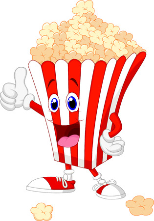 flick: Cute popcorn cartoon with thumb up  Illustration