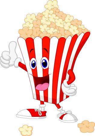 hot seat: Cute popcorn cartoon with thumb up  Illustration