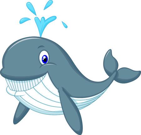 tail fin: Cute dibujos animados ballena Vectores