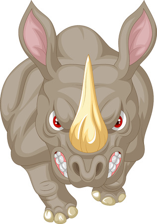 big head: Angry rhino cartoon character