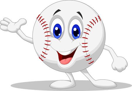 pelota beisbol: B�isbol pelota personaje de dibujos animados Vectores