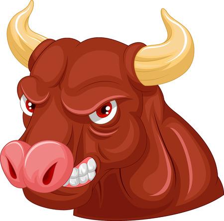 toro arrabbiato: Cartoon Angry toro personaggio mascotte Vettoriali