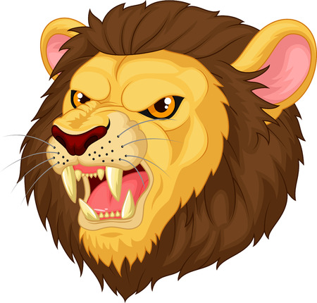 angry lion: Angry cartoon lion head mascot  Illustration