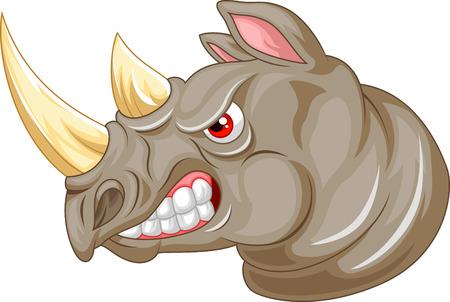 rhinoceros: Angry rhino cartoon character