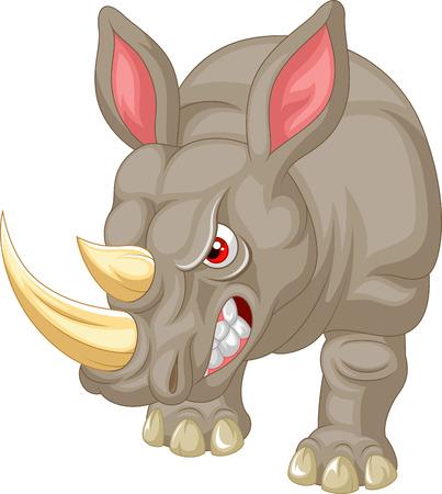 tusks: Angry rhino cartoon character