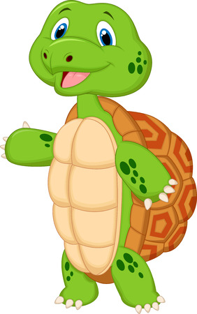 Cute turtle cartoon presenting  向量圖像