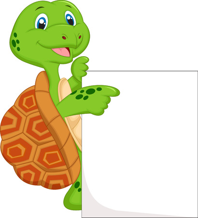 at sign: Cute turtle cartoon with blank sign