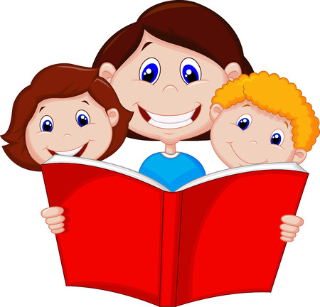 cartoon reading: Cartoon Mother reading book to her children  Illustration