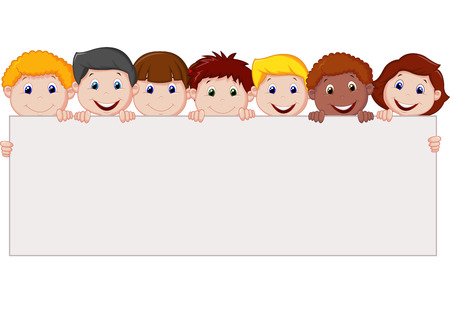 Cartoon Kids with blank sign  Vector