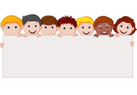 planche: Enfants de dessin anim� avec le signe blanc