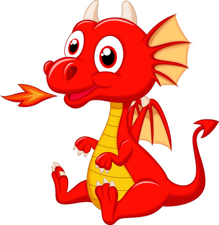 the red dragon: Cute baby dragon cartoon