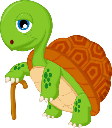 Elderly tortoise cartoon Vector