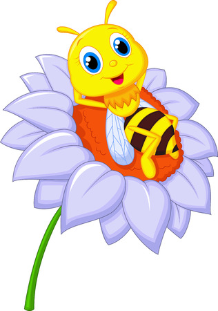 abeja caricatura: Pequeña historieta de la abeja descansando en la flor grande Vectores