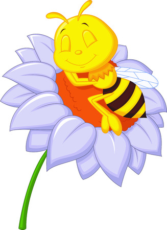 Little bee cartoon sleeping on the big flower  Vector