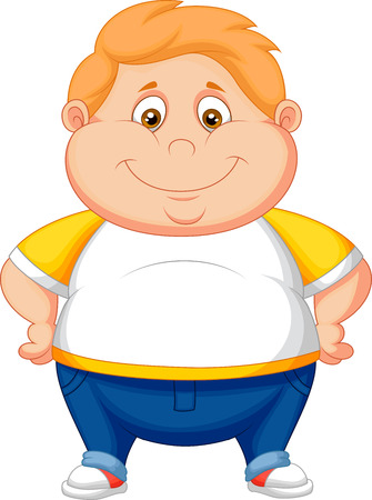 脂肪の少年漫画のポーズ  イラスト・ベクター素材