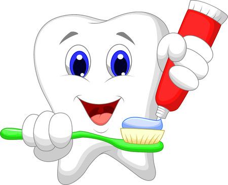 higiene bucal: La historieta del diente poner pasta de dientes en el cepillo de dientes Vectores