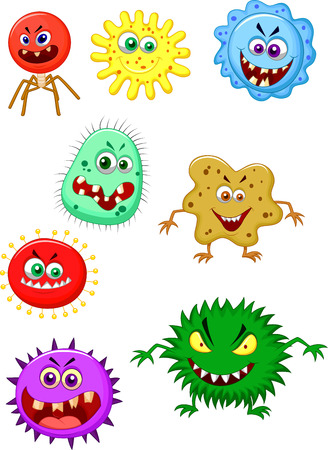 bacteria cartoon: Virus cartoon collection set  Illustration